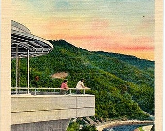 Vintage North Carolina Postcard - Fontana Dam Visitor Center overlooking the Little Tennessee River (Unused)