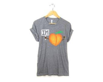 Im-Peach Tee -  Boyfriend Fit Crew Neck Impeach Trump Tshirt with Rolled Cuffs in Heather Grey Triblend - Women's S-3XL