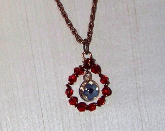 copper necklace with pressed flower
