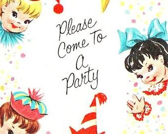 Digital Images Vintage Childrens Birthday Party Invitations  Retro Kids Invites Cards Printable Editable