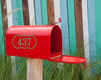Mailbox Number with Border Reflective Vinyl Decal, Reflective Vinyl, Address Decal, House Numbers, Curb Appeal, Mailbox