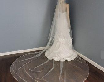Drop Bridal Veil Rattail Satin Edge, Bridal Veil DE-RE