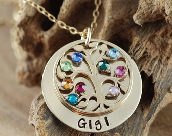 My Family Necklace with Tree of Life, Mother's Necklace, Grandmother Jewelry, Tree of Life Necklace, Birthstone Family Tree Necklace