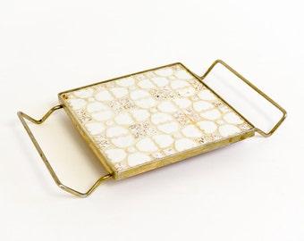 Vintage 1950s Mosaic Tile Trivet / White and Gold Speckled Tiles, Floral Pattern
