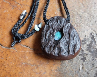 Large Boulder opal, wood necklace - handmade in Australia - natural jewellery - earthy precious tribal unique - macrame necklace adjustable