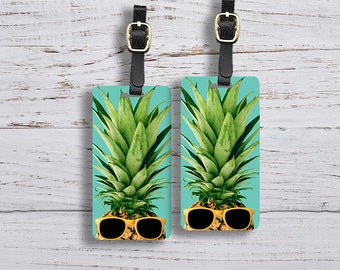 Luggage Tag Set Cool Pineapple Sunglasses vintage Metal Luggage Tag Set With Printed Custom Info On Back, 2 Tags Choice of Straps