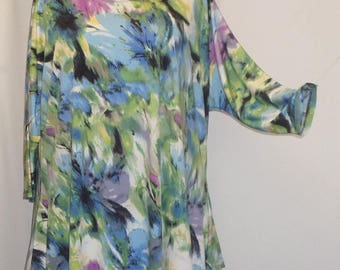 Plus Size Top, Coco and Juan, Lagenlook, Plus Size Tunic, Watercolor Print, Knit Drape Side, Women's Tunic Top, One Size Bust  to 60 inches