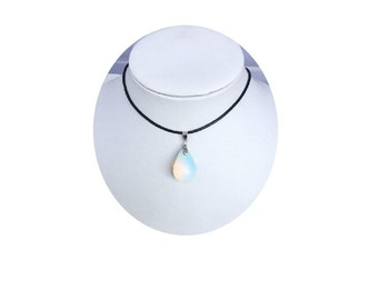 Opalite Teardrop Pendant , Black Leather Necklace , Sterling Silver Chain