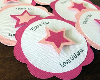 Star Party Favor Tags, Pink Star Favor Tag, American Favor Tag, Girl Doll Party Favor, Girl Birthday Party, Party Favor, Star Tag, Set of 12