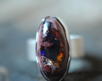 Dollybird Raw Black Fire Opal Ring