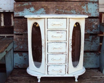 Vintage Shabby Chic Wood Jewelry Music Box Mele Musical Distressed Chippy Antique Off White French Provincial Claw Feet Necklace Carousel