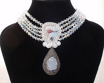 Grey white bridal choker   TITANIUM STATEMENT NECKLACE   jean paul gaultier crystal jewelry   pearls swarovski collar   druzy titanium