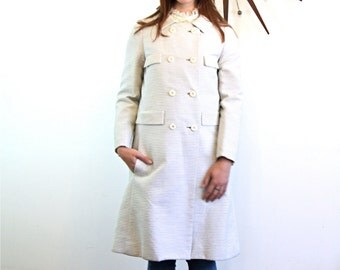 Vintage 1960s JACK FEIT Light Weight Coat White Gray Stripe Ribbed Textured Overcoat Mod Dress Coat Retro 60s Mad Men A-Line Cut Long Jacket