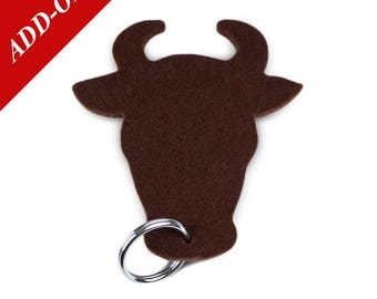 Bull Designer Wool Felt Keychains - Brown, 100% Wool, Bull Head, Steer, Farm Animal, Add-On Item
