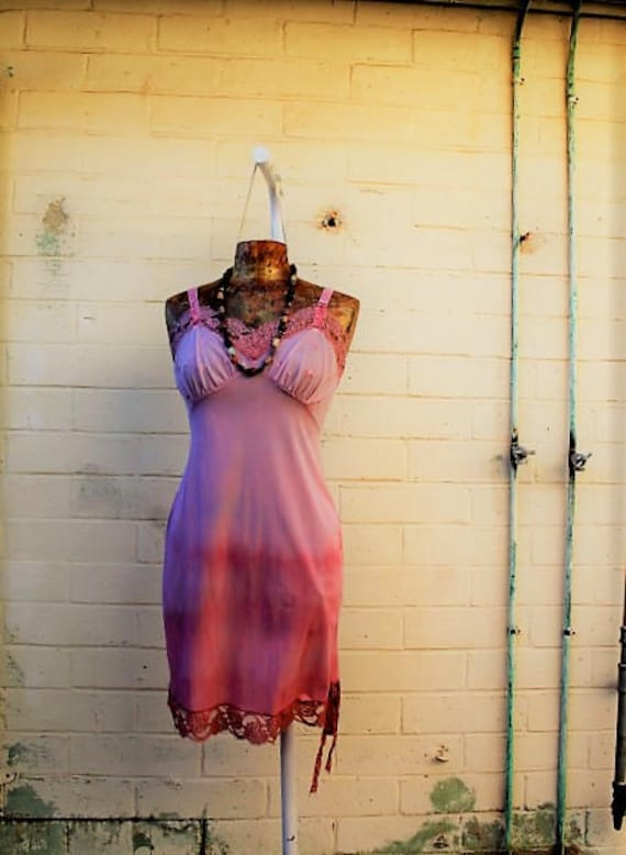 Small Rose Slipdress/Vintage slip dress/ slip Sundress/Oregon Dress/Farmgirl Dress/Pink Earth Sundress/Tie Dye Slipdress/Oregon Countrygirl