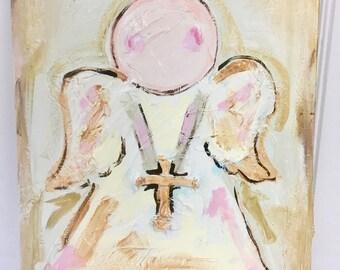 SAMPLE SALE - Sweet Angel Original Painting - Bronwyn Hanahan Art