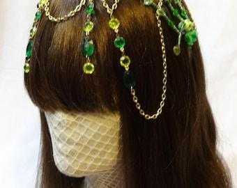 Emerald Drops Beaded Headpeice