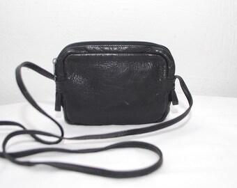 80s 90s small leather bag. crossbody bag. black purse
