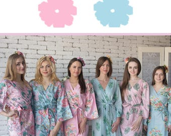Pink and Light Blue Wedding Color Bridesmaids Robes - Premium Rayon Fabric - Wider Belt and Lapels - Wider Kimono sleeves