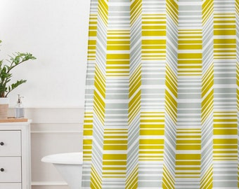 Geometric Shower Curtain // Bathroom // Delineate Design // Midcentury Modern Home // Shower // Bathroom Decor // Retro Style // Yellow