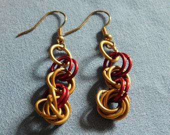 Red and gold mobius chain mail earrings