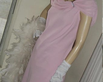 1920s Flapper Style Vintage Frock Pink Chiffon Size L Rhinestone Bodice Detail Draping Lovely