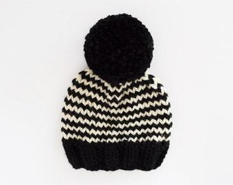 Striped Pom Pom Hat // Knit Hats for Kids // Chunky Knit Pom Pom Hat // School Spirit Hats // Toddler Hats for Boys // Black and White