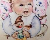 Vintage Print:  Infant with Disney Character, Bashful