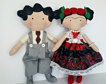 Frida And Diego doll Tilda toy children Frida Kahlo decor Mexican Culture dolls  mexican unique doll  Miniature Scene  Hispanic Artists
