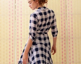 White women dress, button fastenned tunic, cotton, summer, original dress, above knee length, blue checkered , sale