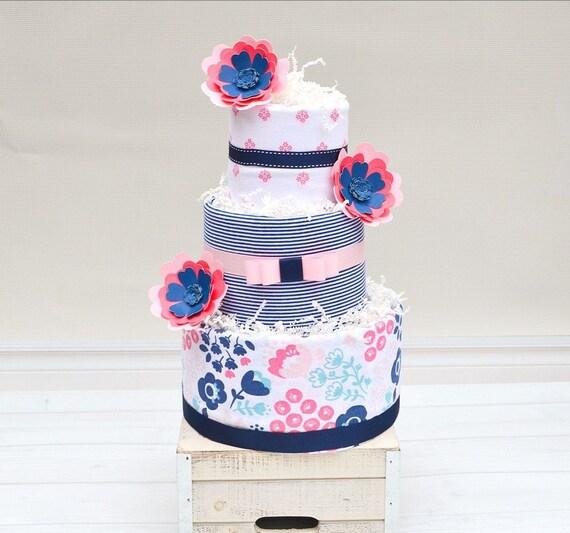 Paper Flower Baby Shower Decor, Girl Diaper Shower Gift, Navy and Pink Baby Shower, Girl Diaper Cake Centerpiece, Floral Baby Blanket