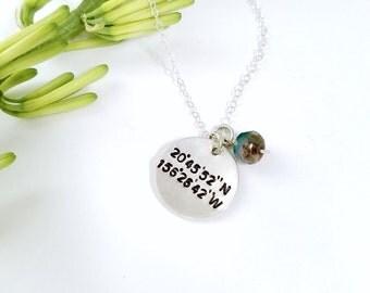 Personalized GPS Coordinates Necklace - latitude longitude necklace, coordinate necklace, location necklace, friendship necklace