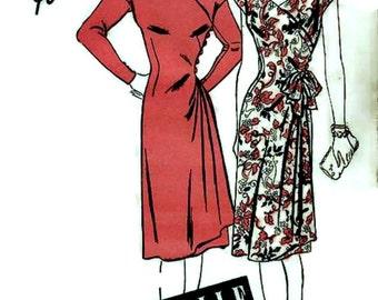 1940's Advance Pattern 3863 - STUNNING  Surplice Wrap Dress w/ Skirt Drape  * Size 12 * FACTORY FOLDED