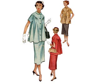 1950s Maternity Top and Skirt Pattern Yoked Swing Top A Line Kangaroo Skirt Kimono Sleeve McCalls 9425 Bust 32 Vintage Sewing Pattern