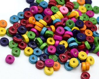 Wood Disc Beads,  500 pcs, 8x3mm, 2mm Hole,  Painted  Wood Beads -B739