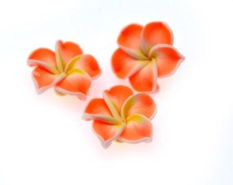 Flower Beads, 10 Pcs, 20mm,  Polymer Clay Flower, Floral beads, Plumeria Flower Beads -B776