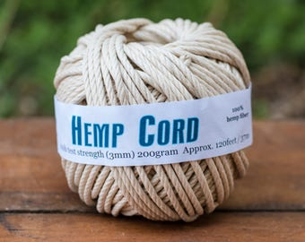 Hemp Cord 3mm, 100lb,  120 feet,  Natural Hemp Twine, Hemp Rope, Thick Hemp Twine, 3mm Rope -T87