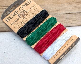 Hemp Twine, Primary Colors, Hemp 1mm,  20lb,  120 Feet Card, Macrame Hemp Cord, Hemp String -CH45