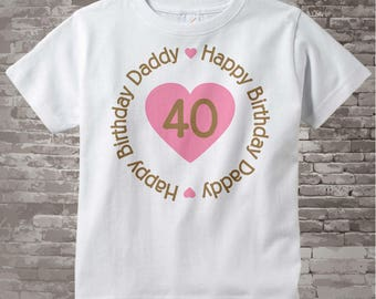 Happy Birthday Daddy Shirt or Onesie with Pink Heart Personalized with Dad's Age 02182014d