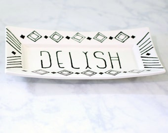 Dish Food Tray // White and Black Ceramic Serving Tray // Modern Ceramic Serving Dish