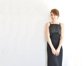 chiffon satin little black dress . bow tie empire waist . column maxi skirt .extra small.xs