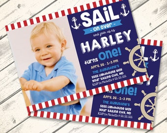 Nautical Party Invitation, 1st Birthday, Sailor Party, Birthday    You Click & Replace Photo Invitation - DIY Instant Download PDF Printable