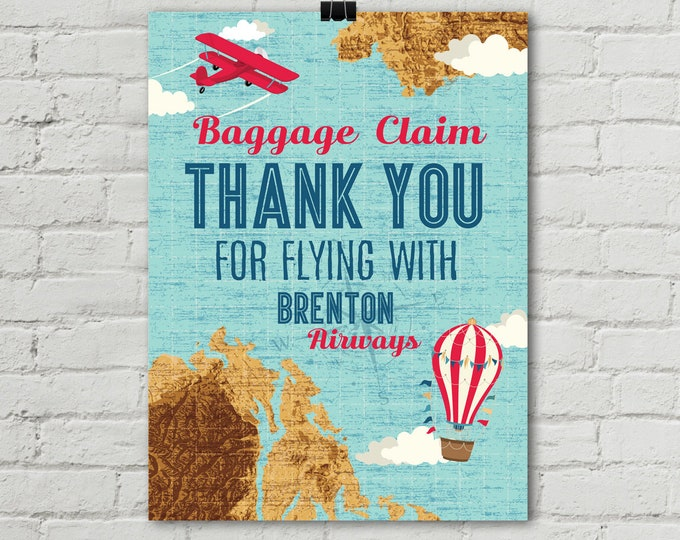 "Retro Airplane Poster 18""x24"", Baggage Claim Airplane Poster, Aviator Birthday, Map Party, 1st Birthday 