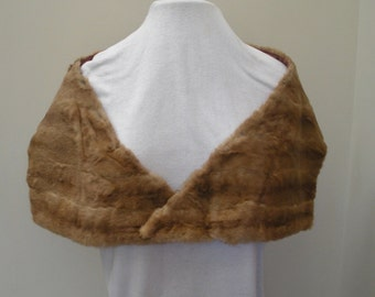 Vintage Light Brown Mink Fur Stole - Mink Wrap