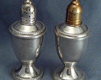 Sterling Large Salt & Pepper Shakers Duchin Creations Vintage Silver
