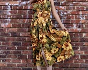 Vintage Tropical Floral Print Button Up Dress