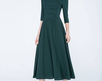 Green dress, evening dress, long dress, linen dress, fall dress, elbow length sleeves, pleated dress, party dress, womens dresses 1753
