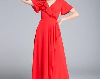 red dress, chiffon dress, maxi dress, ruffle dress, V neck dress, romantic dress, wedding dress, bridesmaid dress, tie belt dress  1756