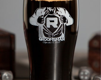 Set of 7 Groomsmen Favors Personalized Favors for Men Unique Wedding Gift Ideas Best Man Gifts from Groom Custom Beer Glass Craft Beer
