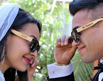 Wedding Sunglasses Mr and Mrs Sunnies Wayfarer Wood Sunglasses Bride and Groom Gift from Bride Personalized Sun Glasses